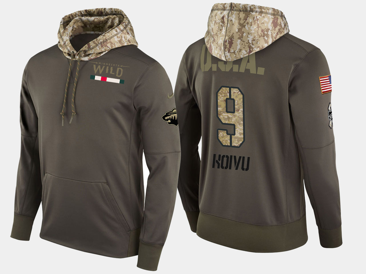 Nike Wild 9 Mikko Koivu Olive Salute To Service Pullover Hoodie