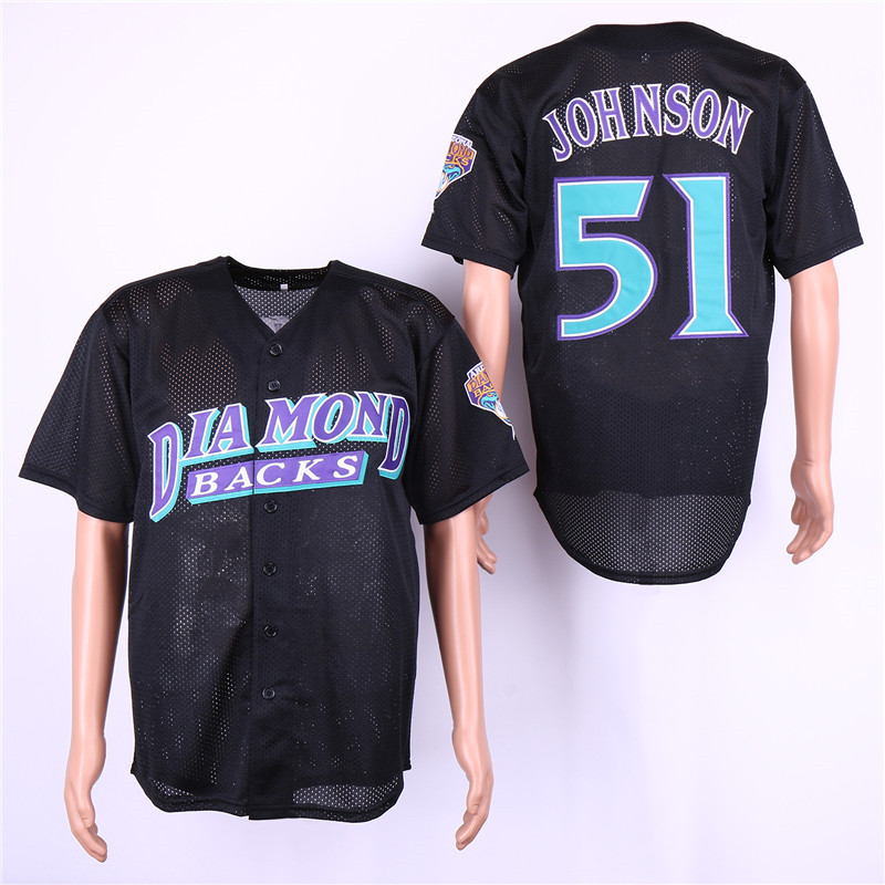 Diamondbacks 51 Randy Johnson Black Mesh BP Jersey