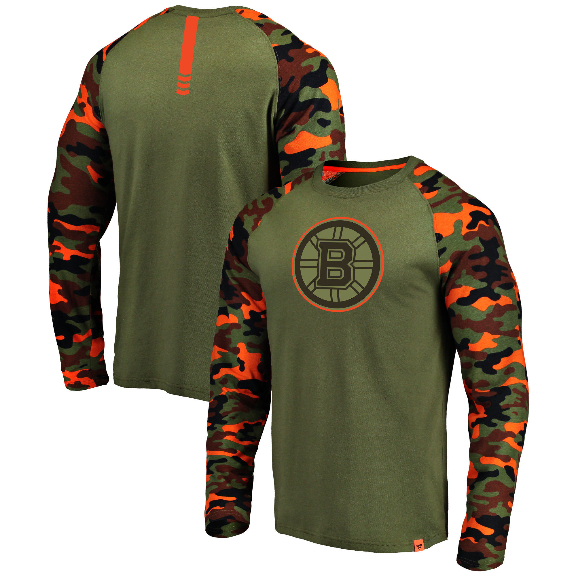 Boston Bruins Fanatics Branded Olive/Camo Recon Long Sleeve Raglan T-Shirt