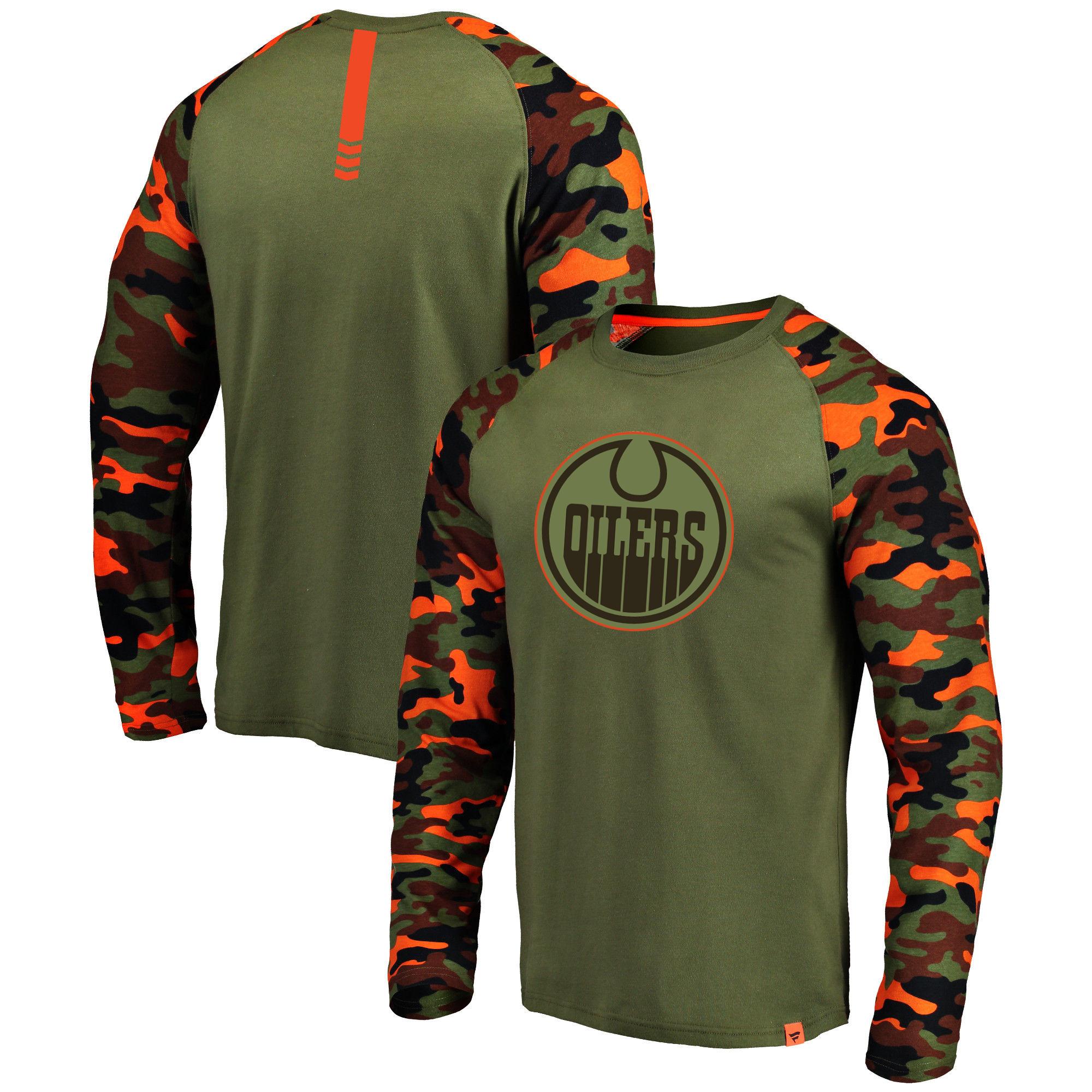 Edmonton Oilers Fanatics Branded Olive/Camo Recon Long Sleeve Raglan T-Shirt