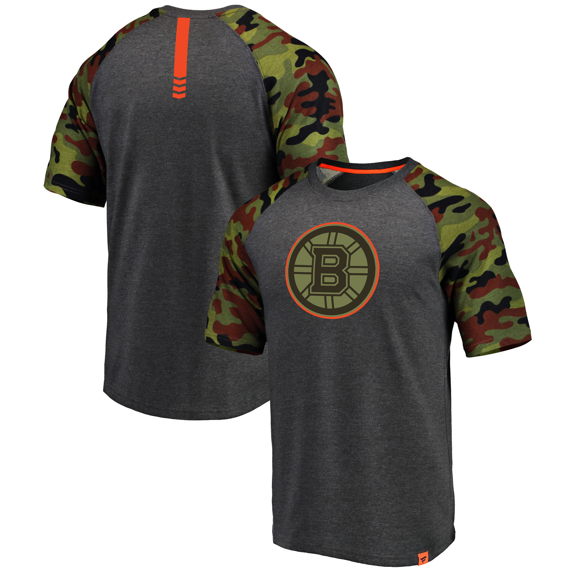 Boston Bruins Fanatics Branded Heathered Gray/Camo Recon Camo Raglan T-Shirt