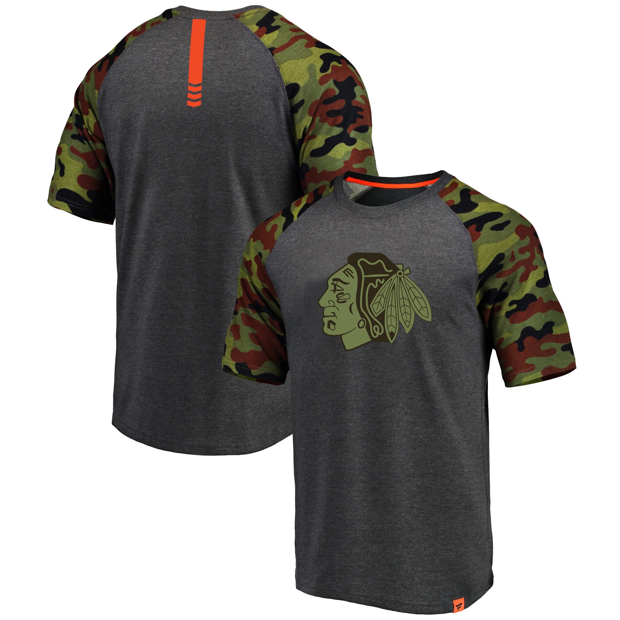 Chicago Blackhawks Fanatics Branded Heathered Gray/Camo Recon Camo Raglan T-Shirt