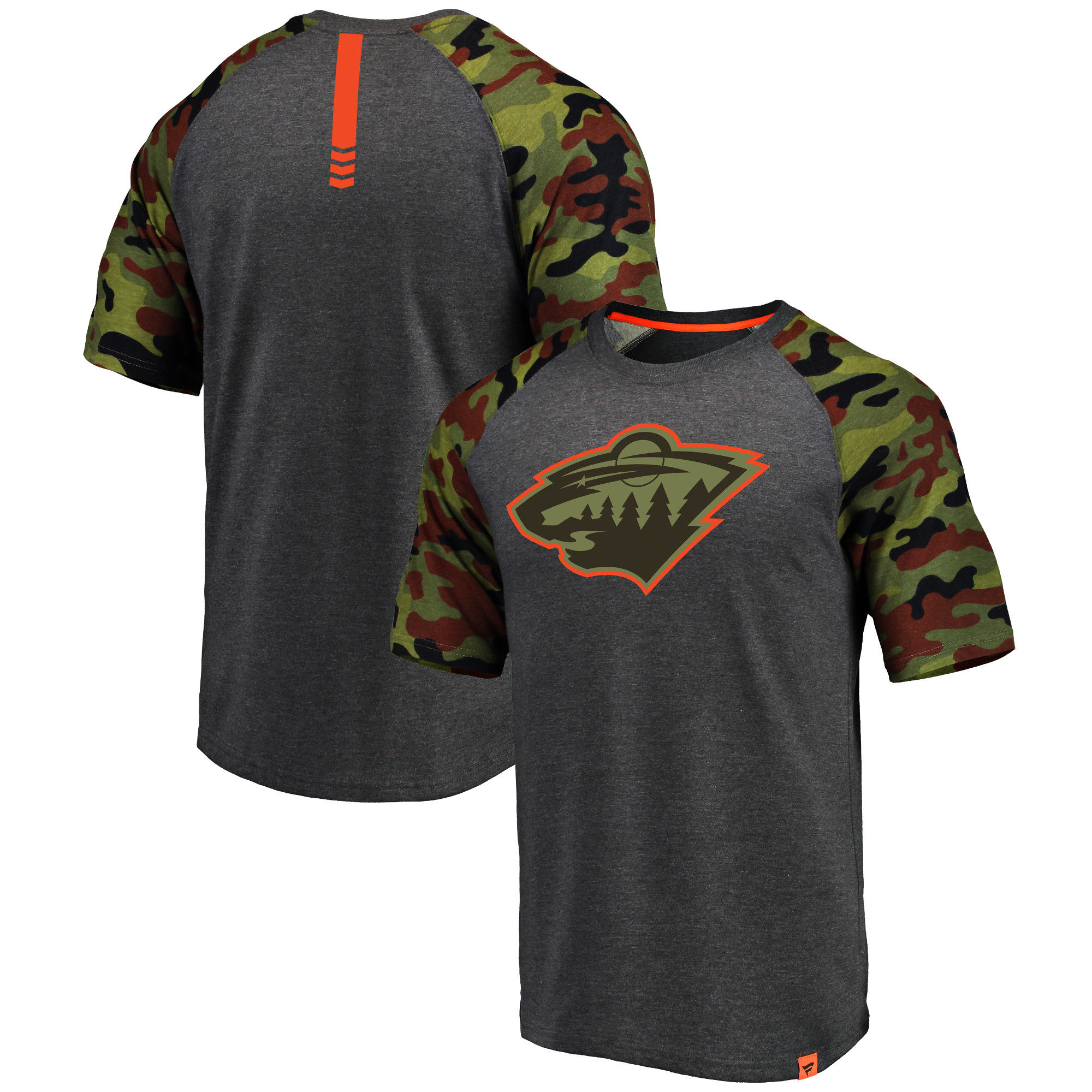 Minnesota Wild Fanatics Branded Heathered Gray/Camo Recon Camo Raglan T-Shirt