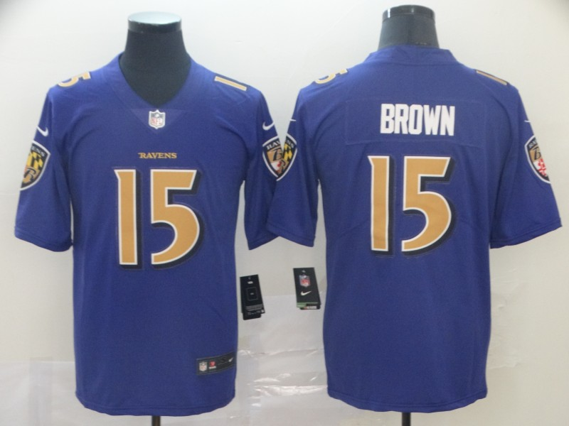 Nike Ravens 15 Marquise Brown Purple Color Rush Limited Jersey