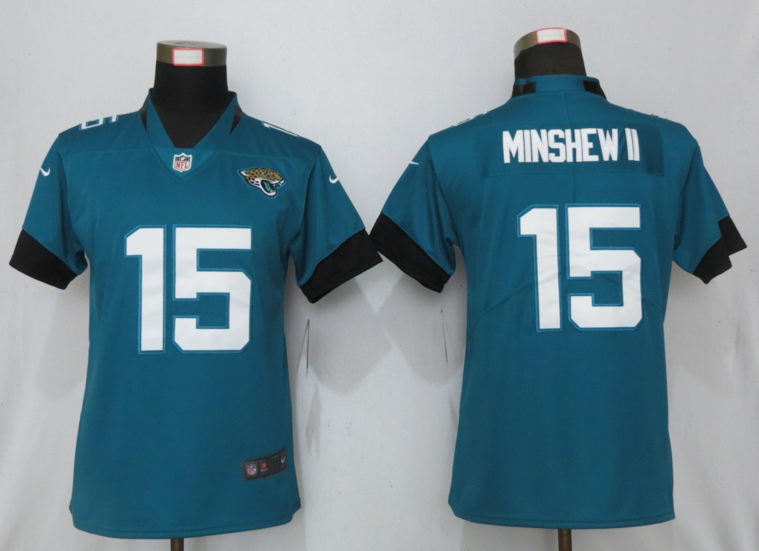 Nike Jaguars 15 Gardner Minshew II Teal Women Vapor Untouchable Limited Jersey