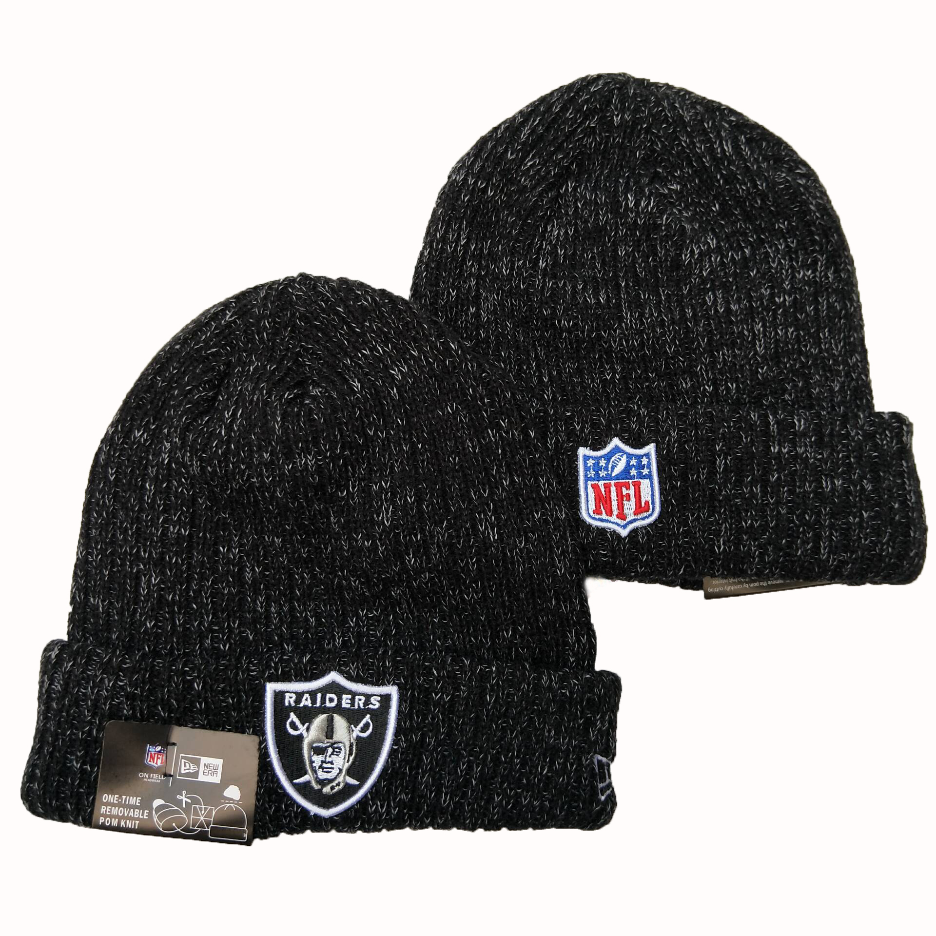 Raiders Fresh Logo Red Cuffed Pom Knit Hat YD
