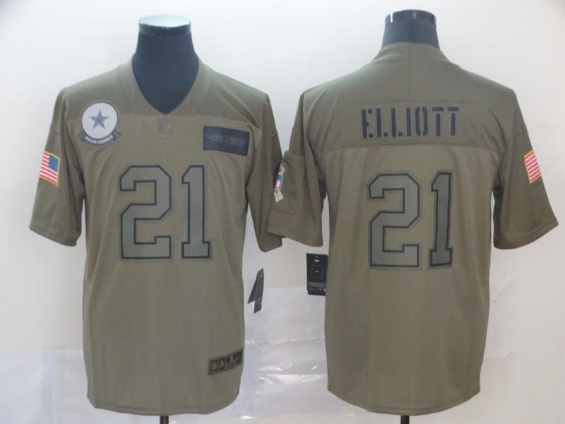 Nike Cowboys 21 Ezekiel Elliott 2019 Olive Salute To Service Limited Jersey