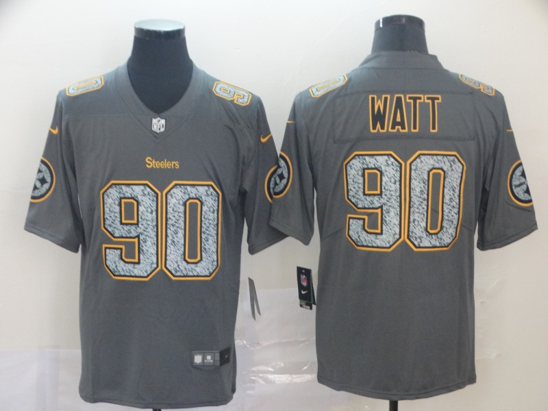 Nike Steelers 90 T.J. Watt Gray Camo Vapor Untouchable Limited Jersey