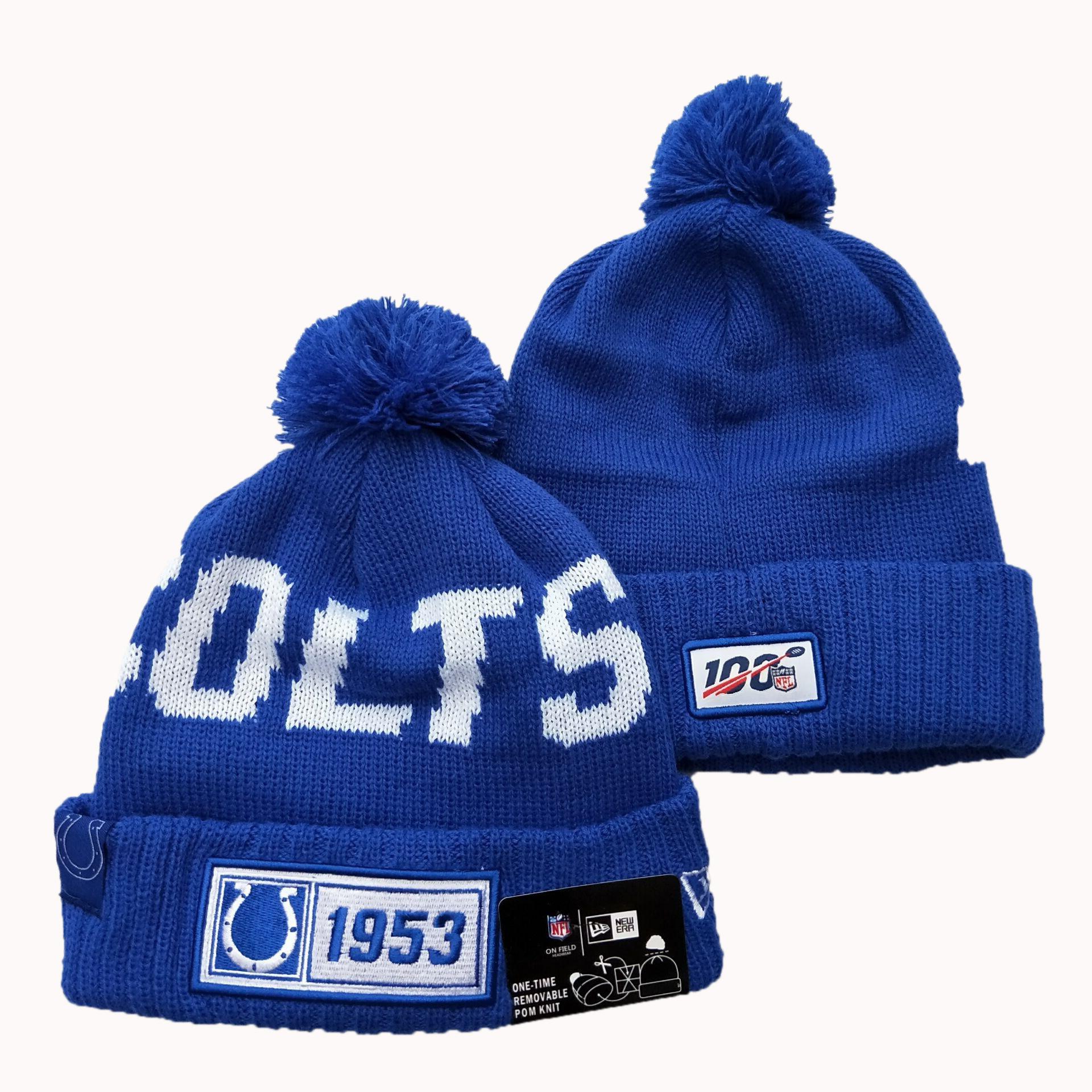 Colts Team Logo Blue 100th Season Pom Knit Hat YD