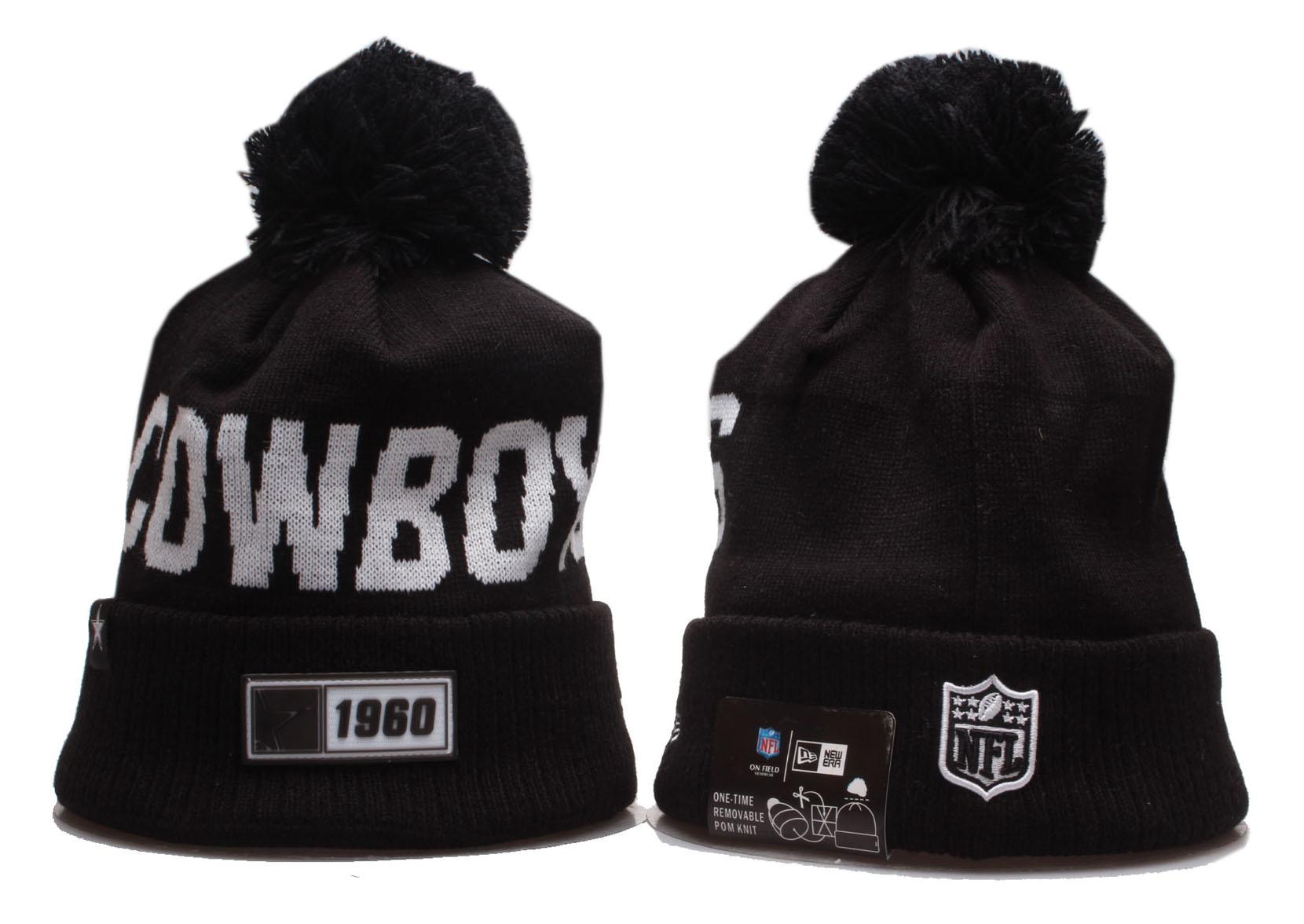 Cowboys Team Logo Black Cuffed Pom Knit Hat YP