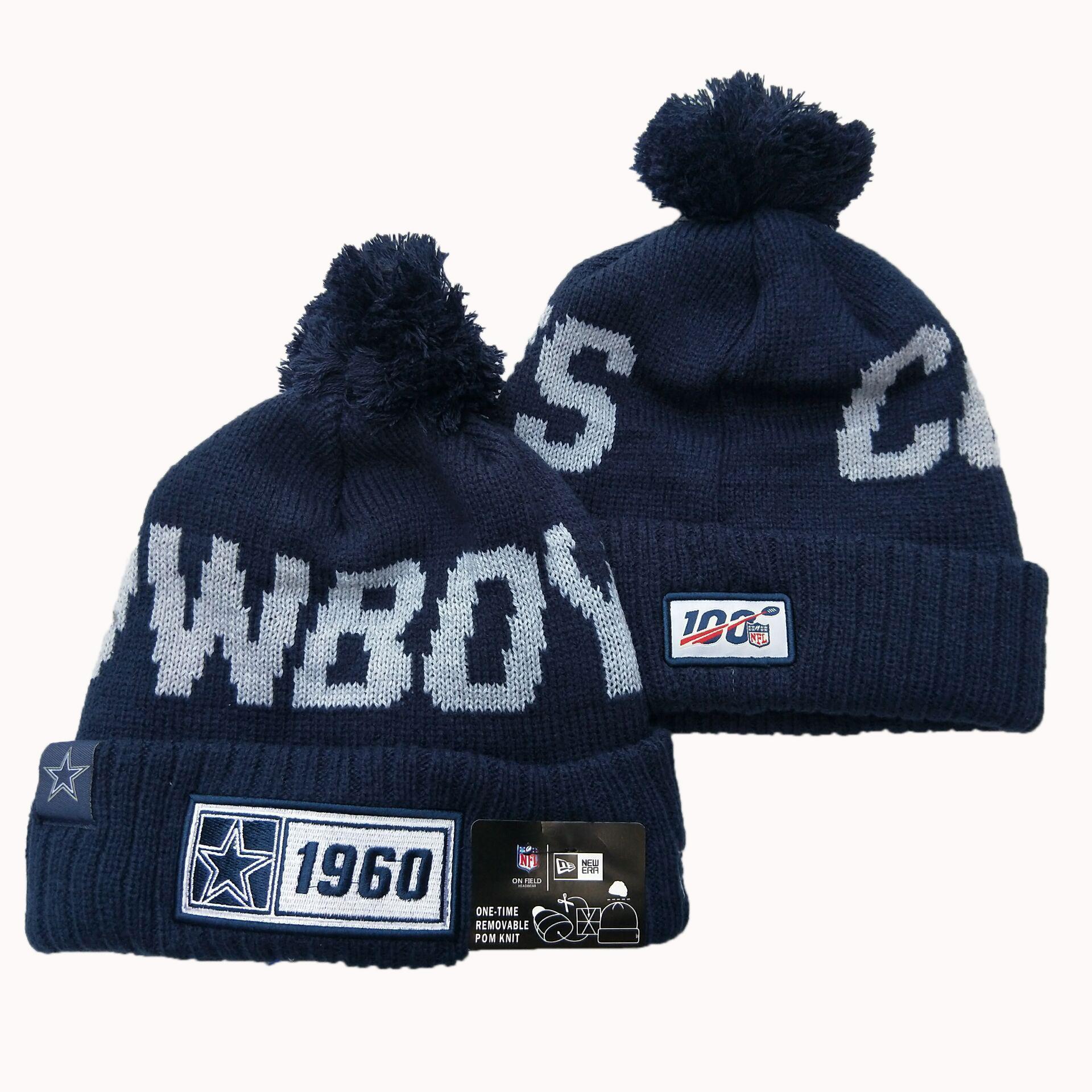 Cowboys Team Logo Navy 100th Season Pom Knit Hat YD