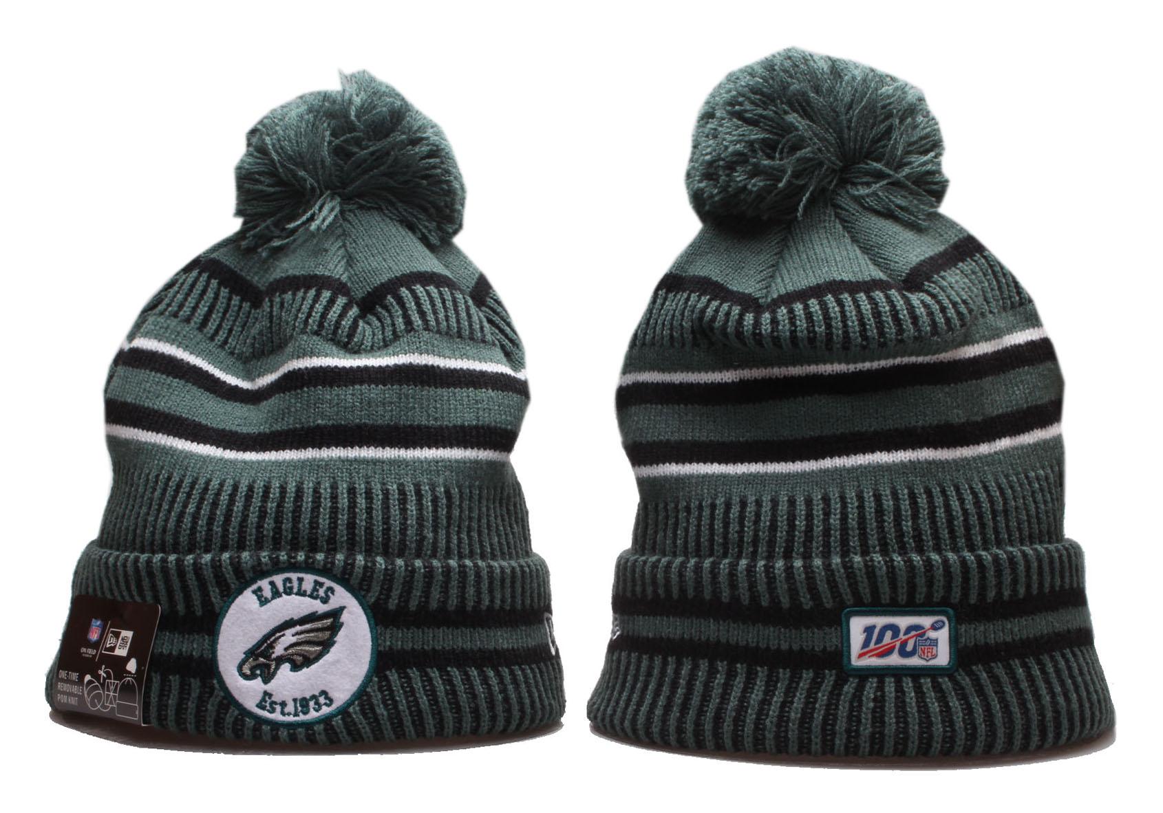 Eagles Team Logo Green 100th Season Cuffed Pom Knit Hat YP