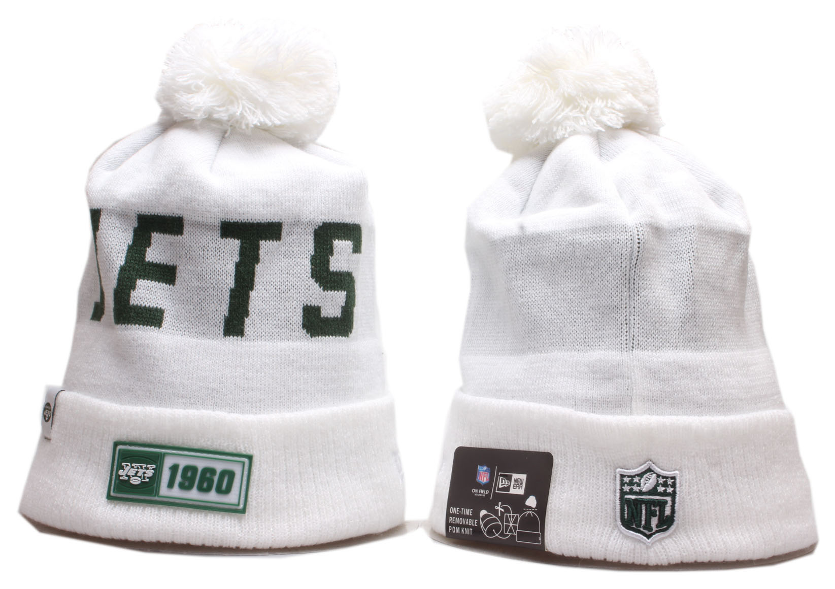 Jets Team Logo White Cuffed Pom Knit Hat YP