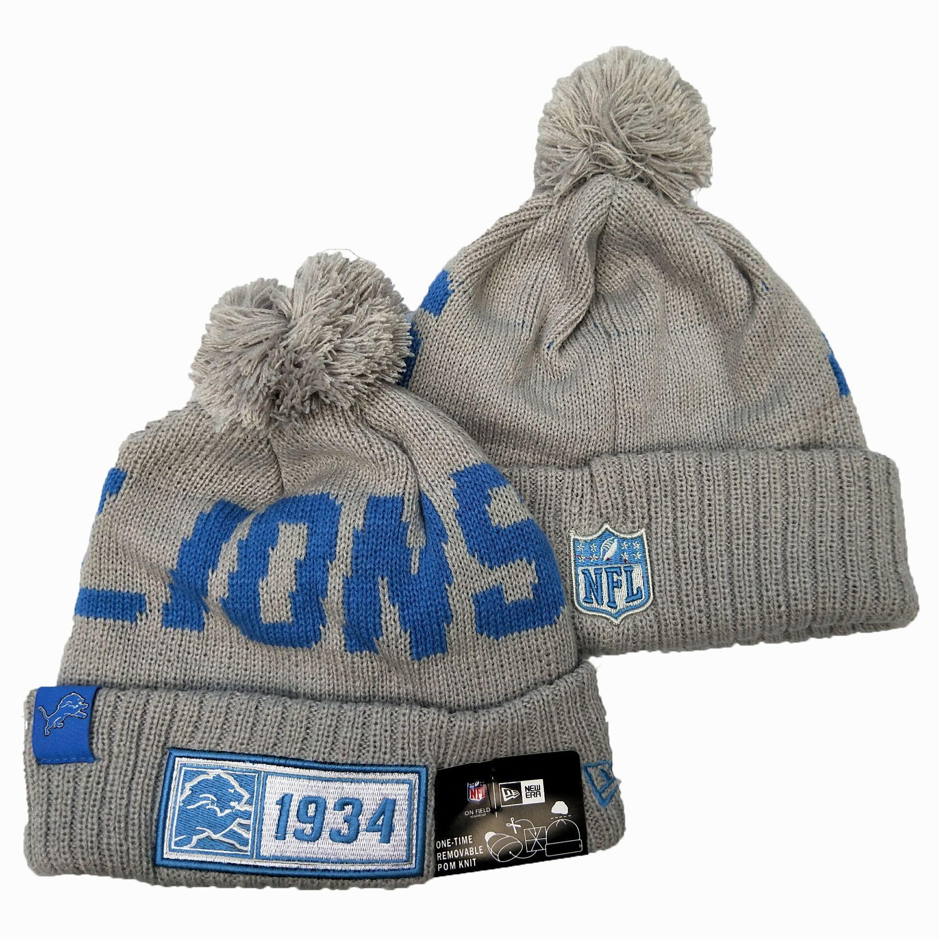 Lions Team Logo Gray Pom Knit Hat YD