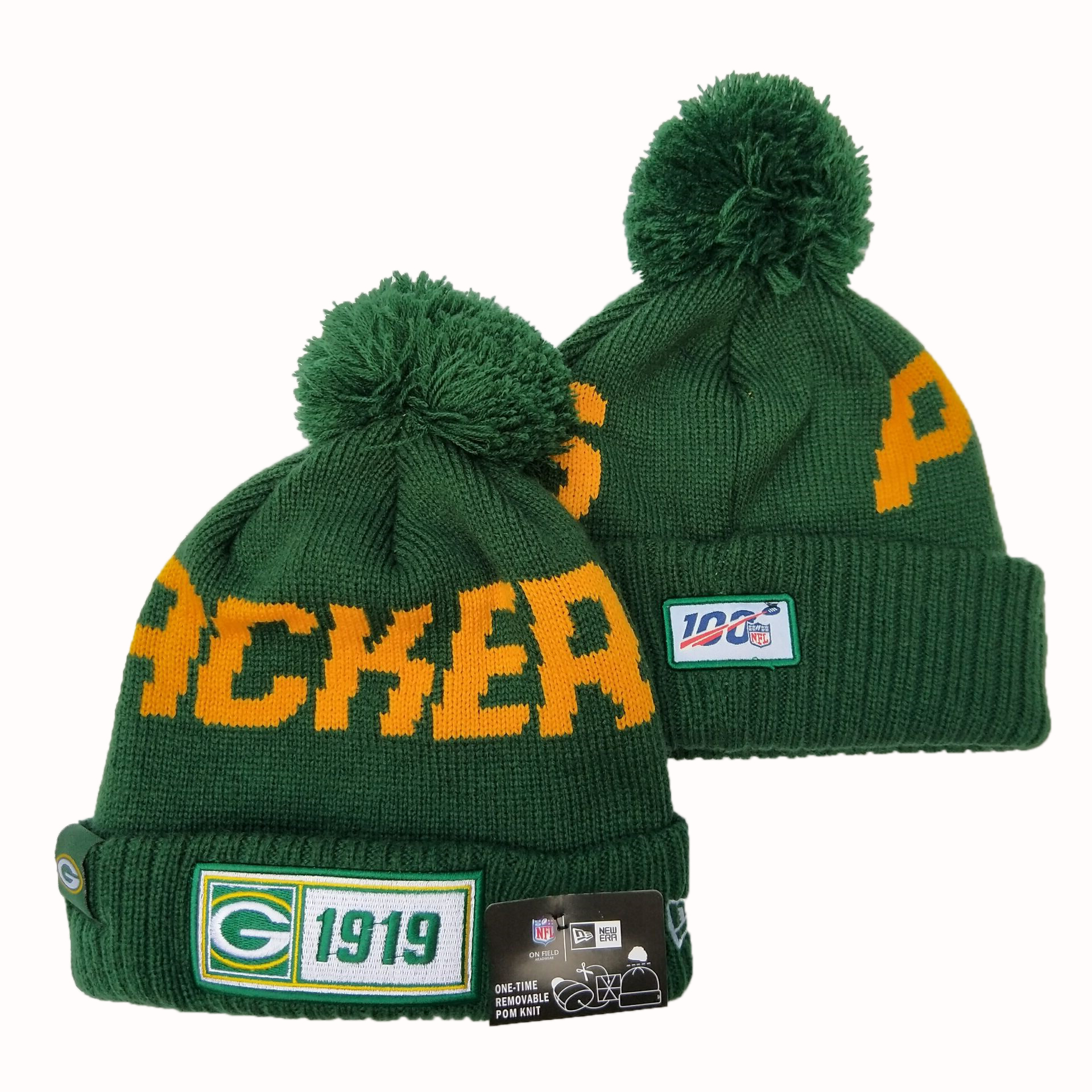 Packers Team Logo Green 100th Season Pom Knit Hat YD