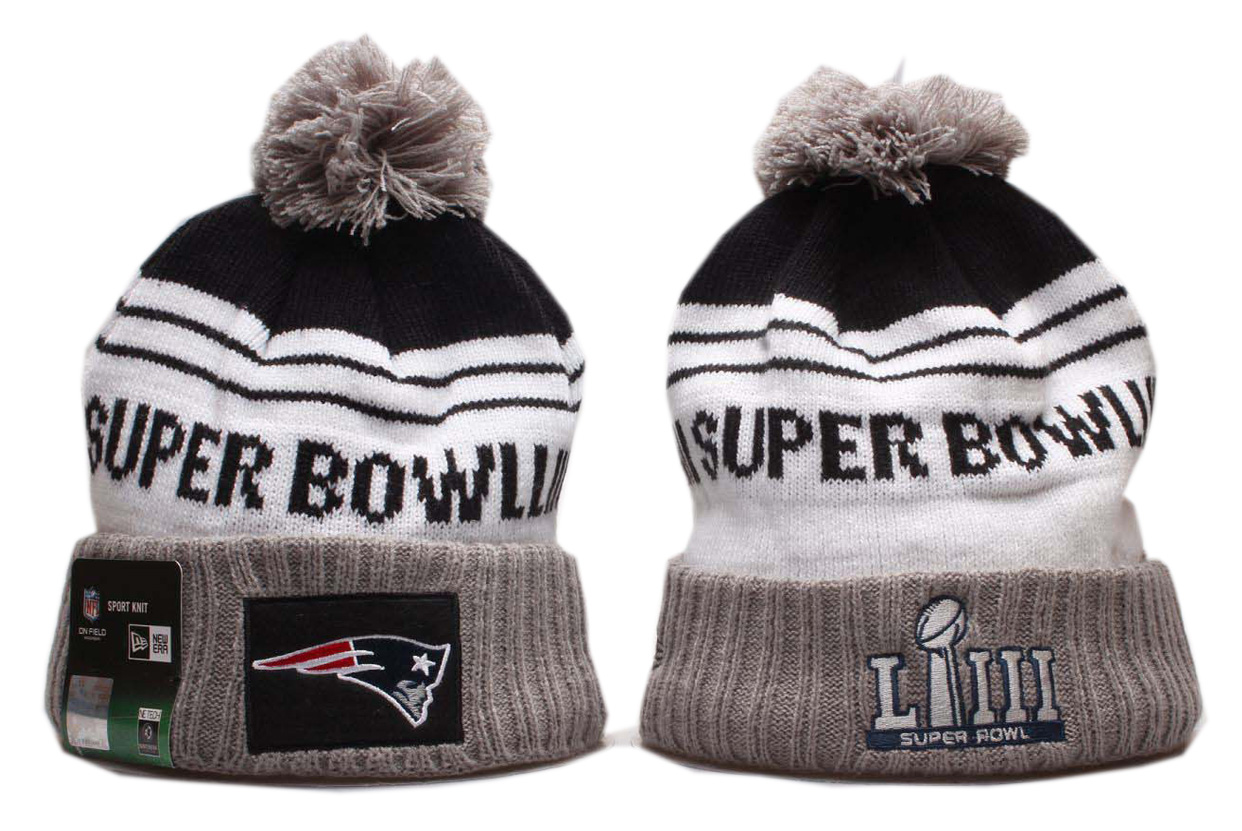 Patriots Fresh Logo Gray Super Bowl LIII Cuffed Pom Knit Hat YP