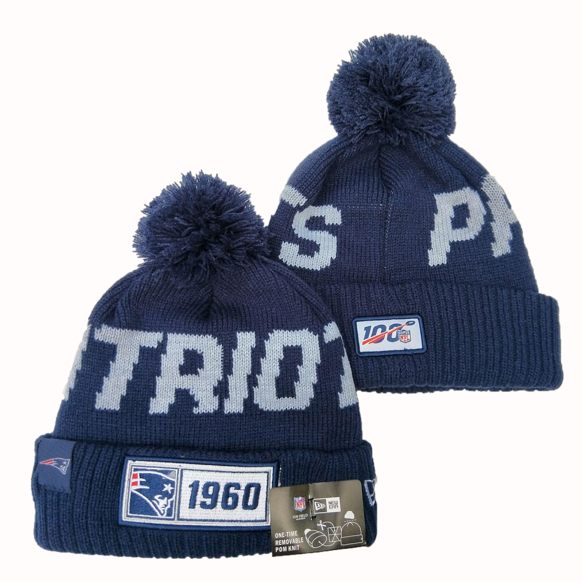 Patriots Team Logo Navy 100th Season Pom Knit Hat YD