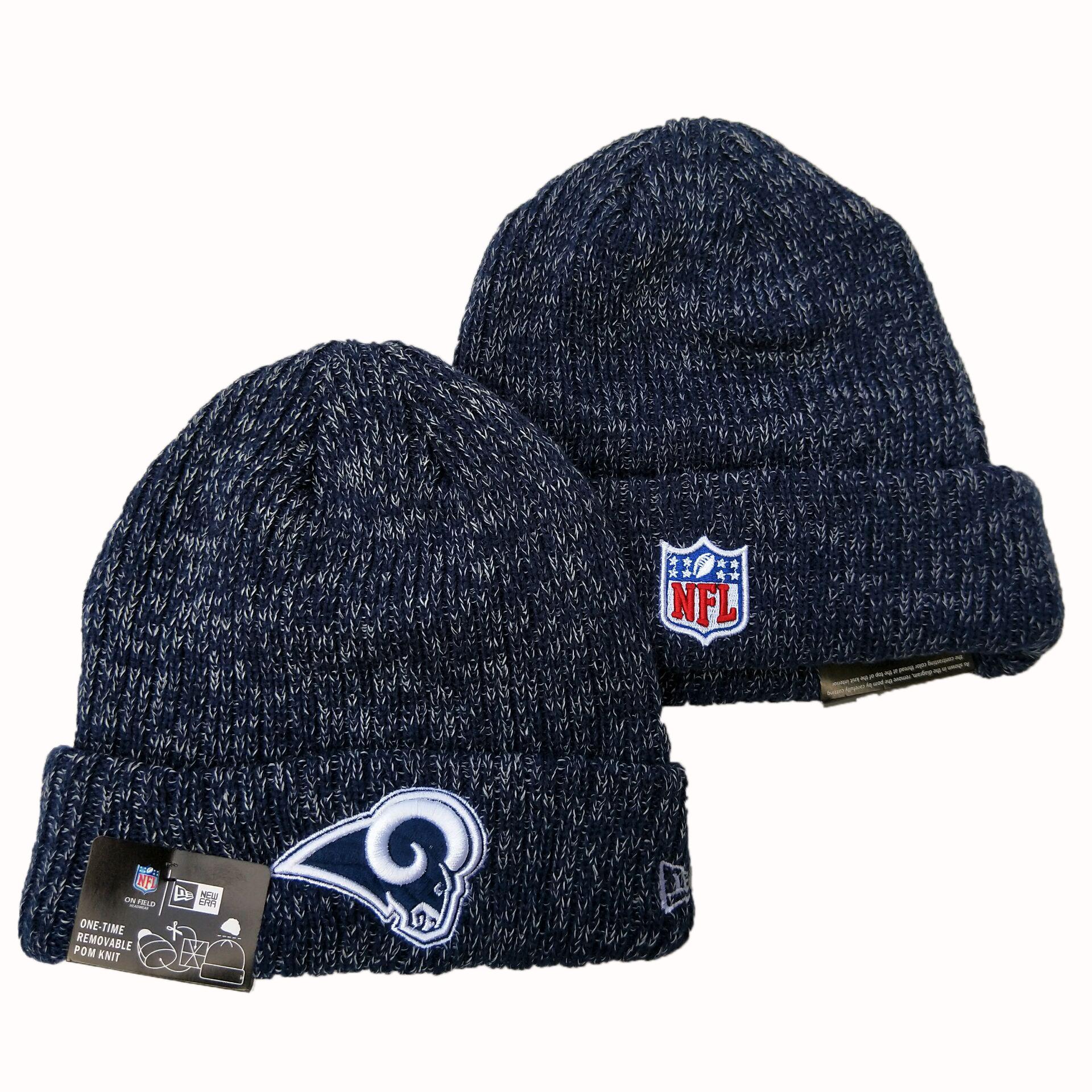 Rams Fresh Logo Navy Pom Knit Hat YD