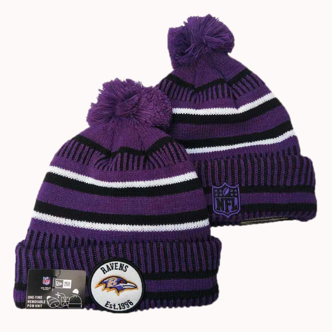 Ravens Team Logo Purple Pom Knit Hat YD