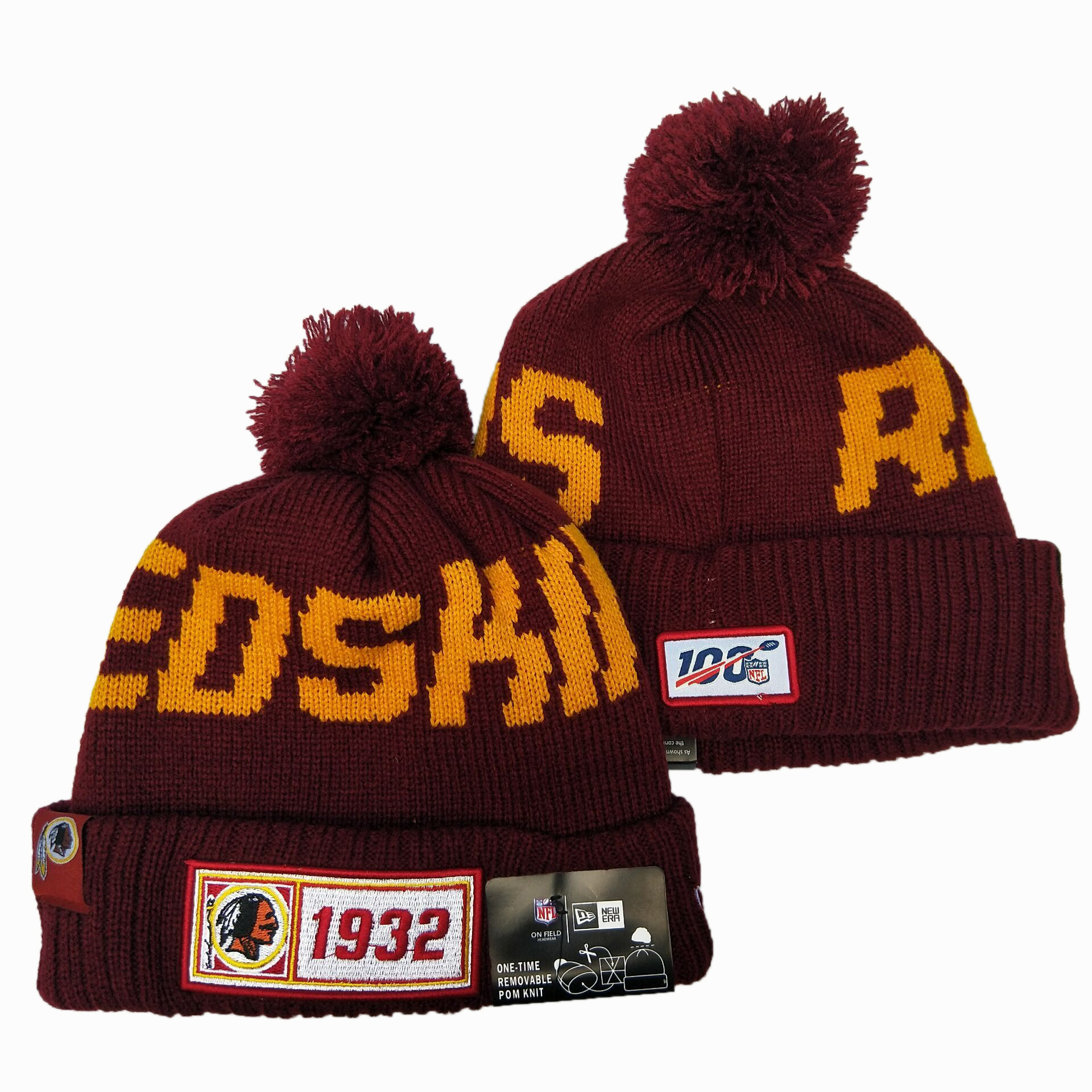 Redskins Team Logo Red 100th Season Pom Knit Hat YD