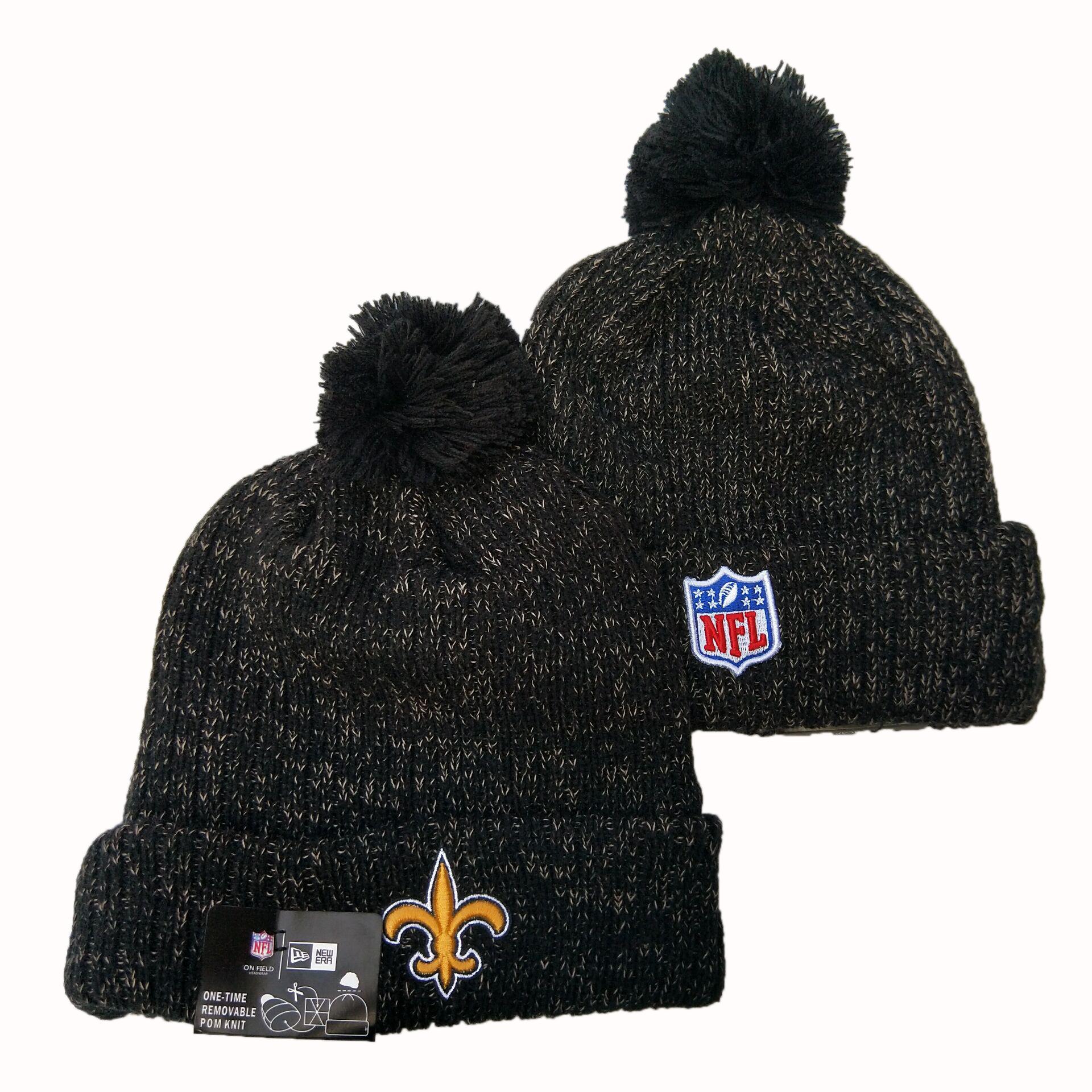Saints Team Logo Black Pom Knit Hat YD