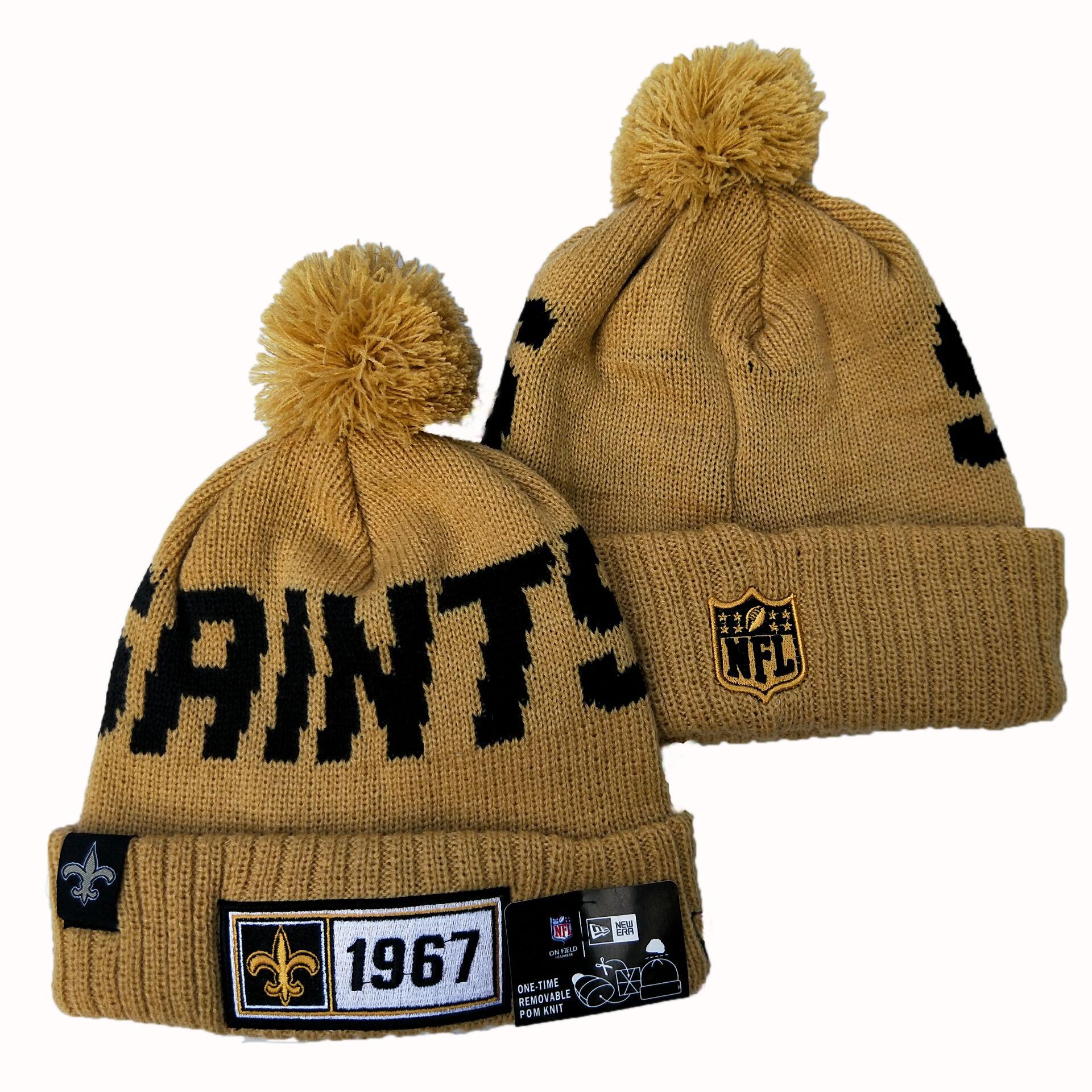 Saints Team Logo Cream Pom Knit Hat YD