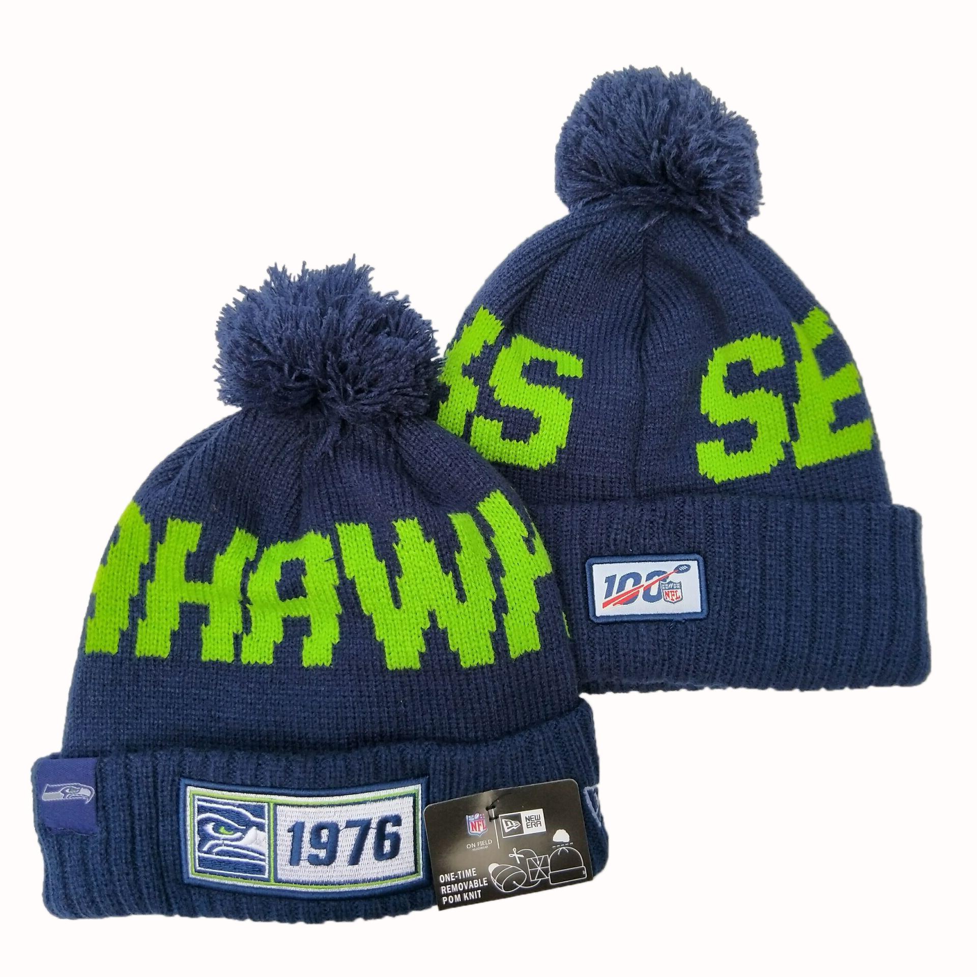 Seahawks Team Logo Navy 100th Season Pom Knit Hat YD