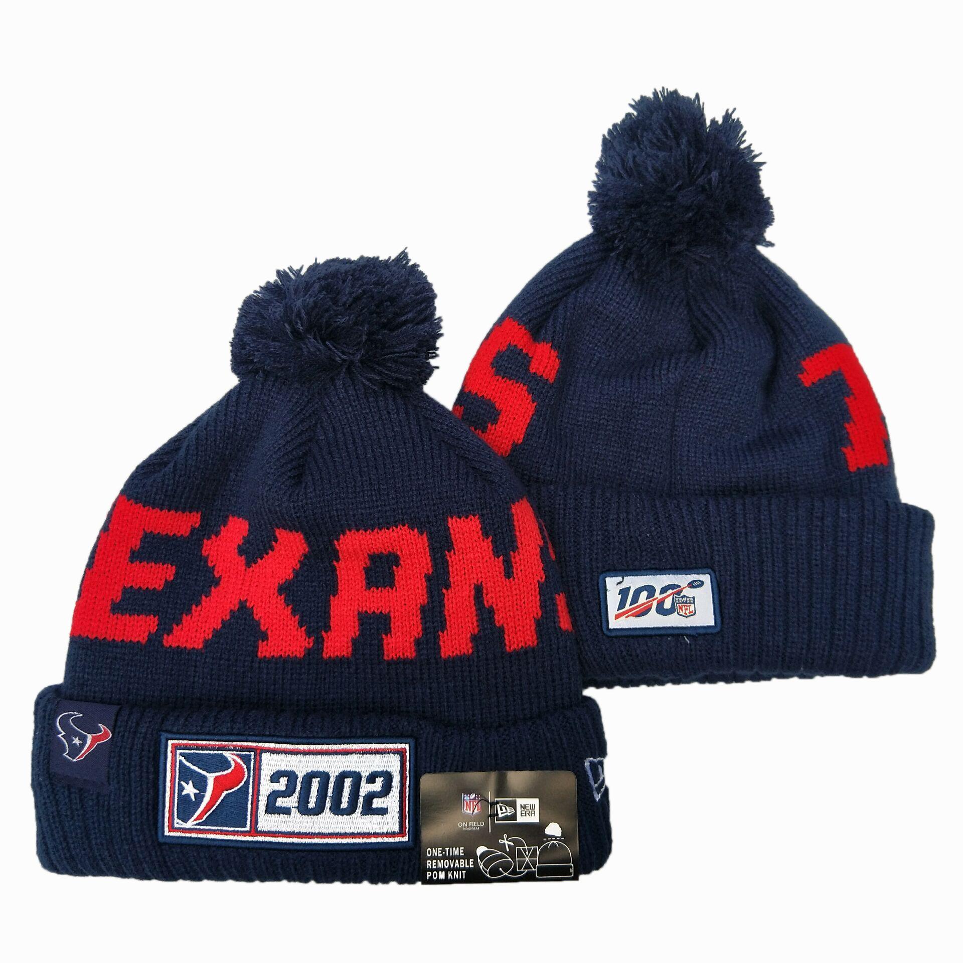 Texans Team Logo Navy 100th Season Pom Knit Hat YD