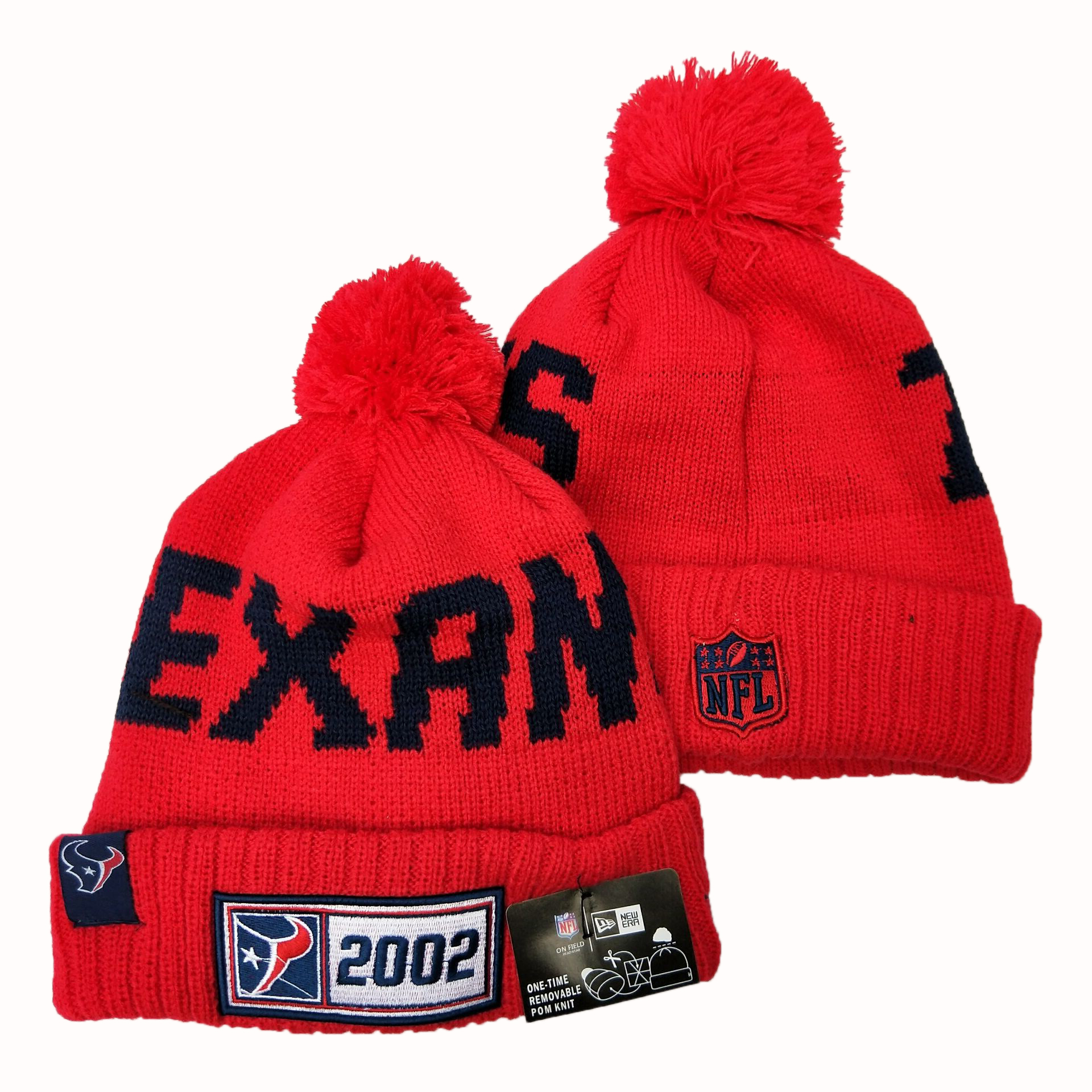 Texans Team Logo Red Pom Knit Hat YD