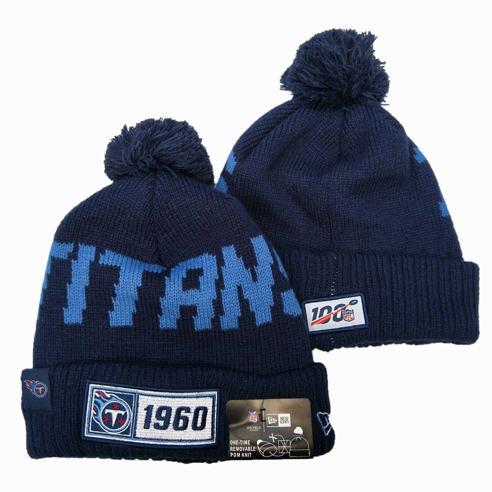 Titans Team Logo Navy 100th Season Pom Knit Hat YD