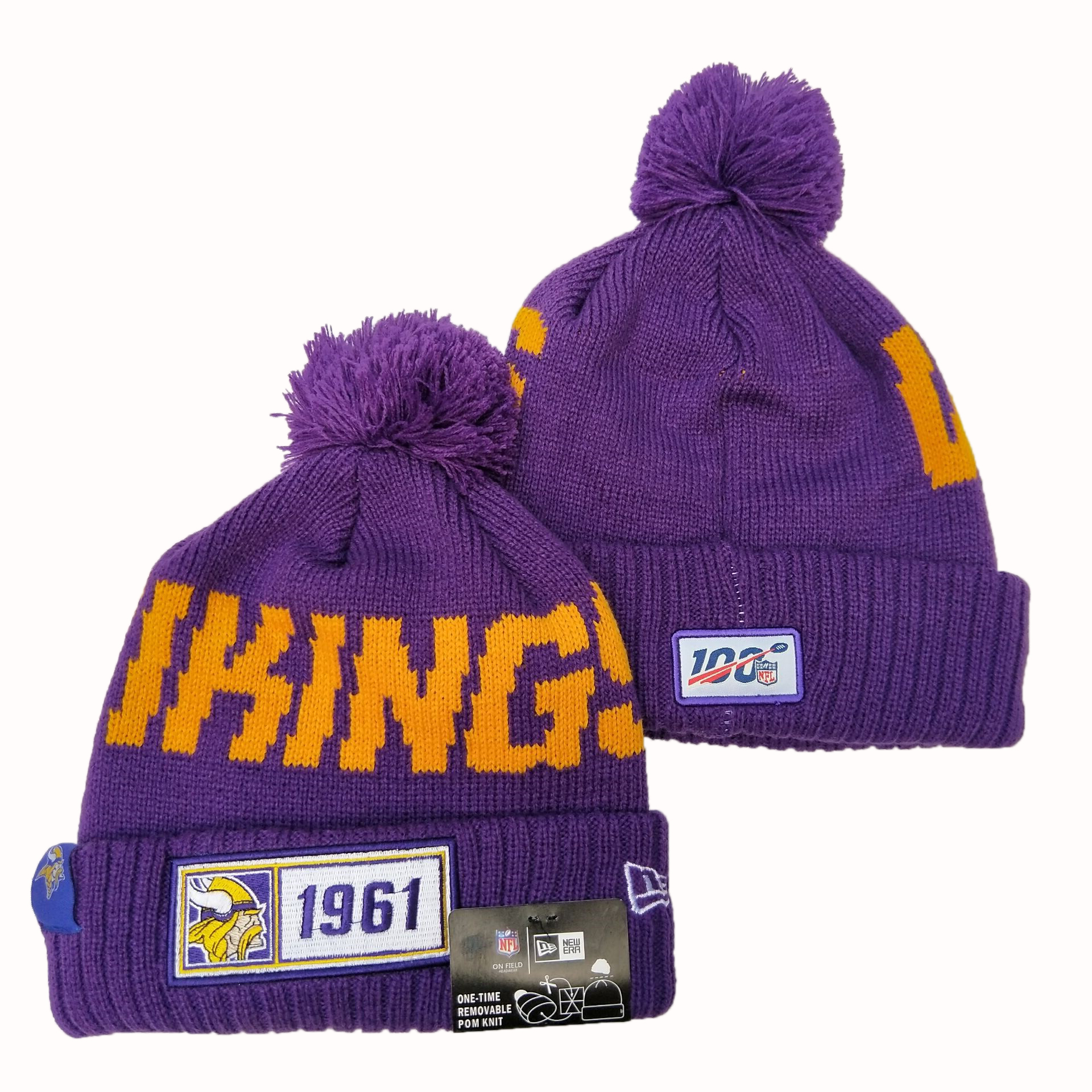 Vikings Team Logo Purple 100th Season Pom Knit Hat YD