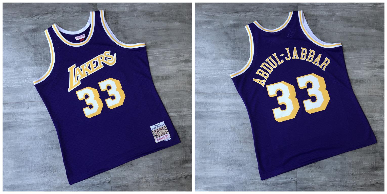 Lakers 33 Kareem Abdul-Jabbar Purple 1983-84 Hardwood Classics Printed Jersey
