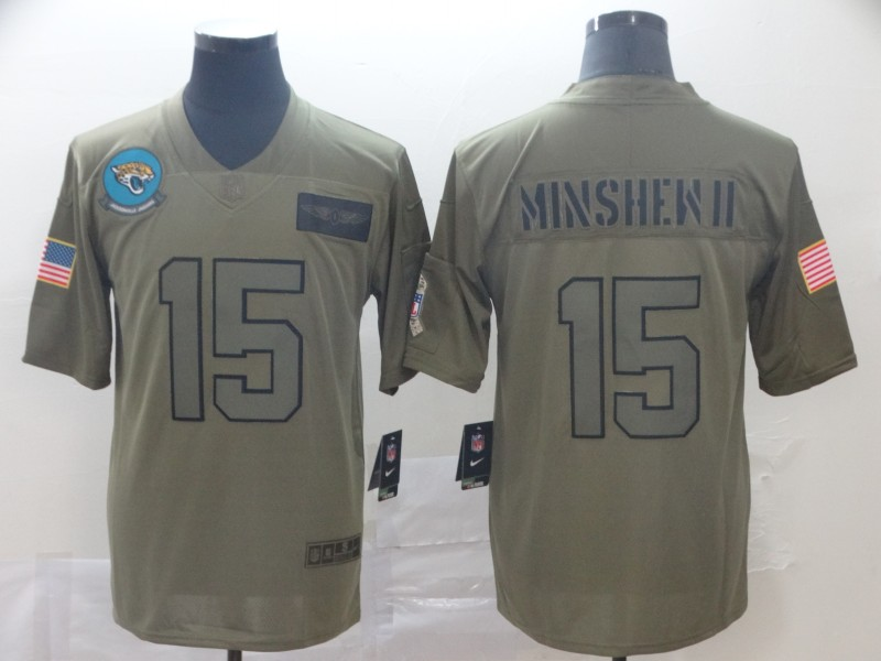 Nike Jaguars 15 Gardner Minshew II 2019 Olive Salute To Service Limited Jersey