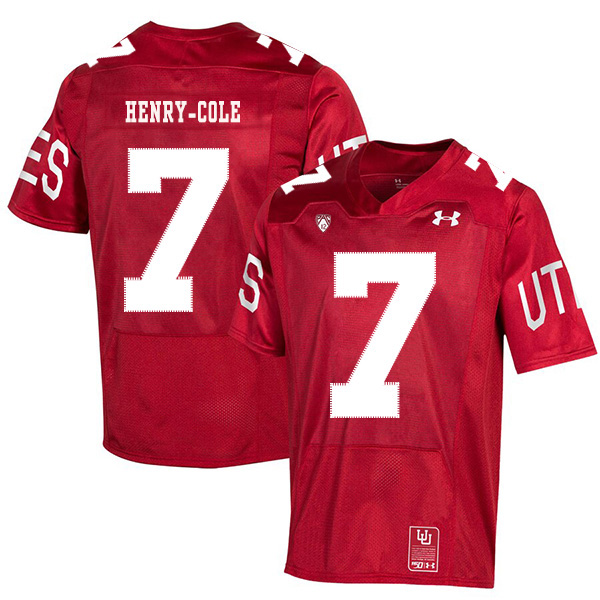 Utah Utes 7 Devonta'e Henry-Cole Red 150th Anniversary College Football Jersey
