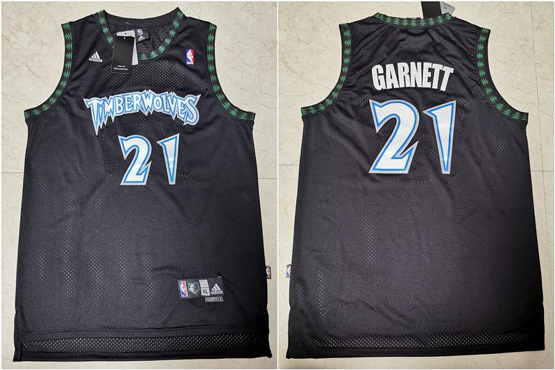 Timberwolves 21 Kevin Garnett Black Swingman Mesh Jersey