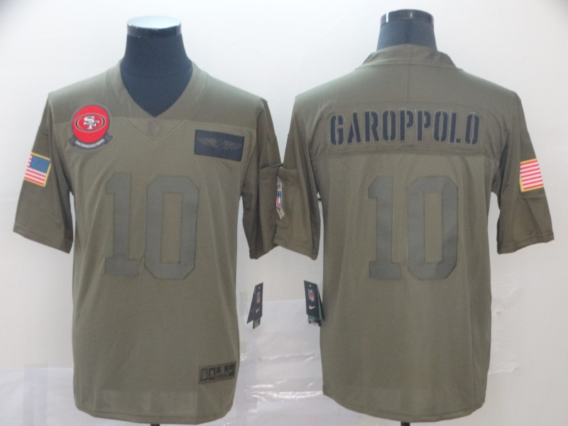 Nike 49ers 10 Jimmy Garoppolo 2019 Olive Salute To Service Limited Jersey