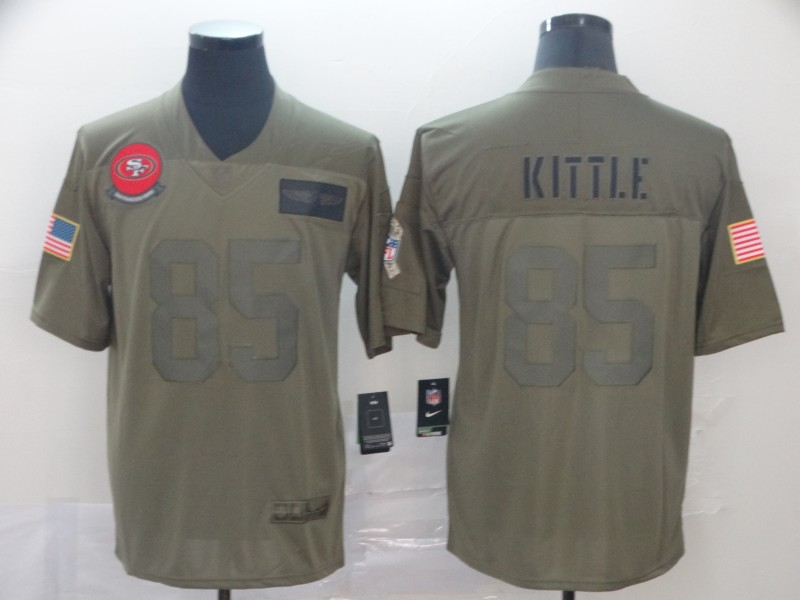 Nike 49ers 85 George Kittle 2019 Olive Salute To Service Limited Jersey