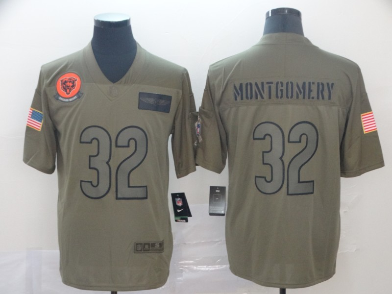 Nike Bears 32 David Montgomery 2019 Olive Salute To Service Limited Jersey