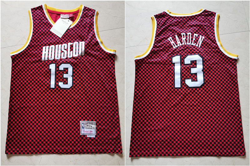 Rockets 13 James Harden Red Checkerboard Hardwood Classics Jersey