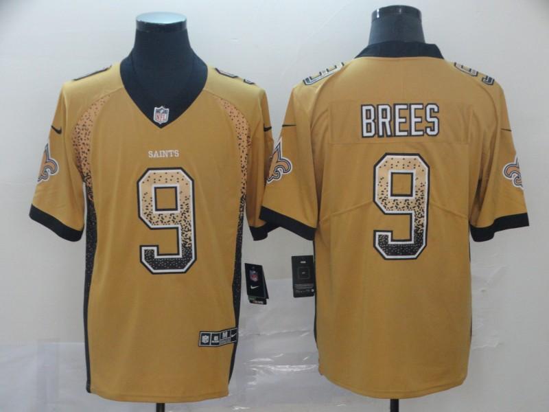 Nike Saints 9 Drew Brees Yellow Draft Fashion Limited Jersey