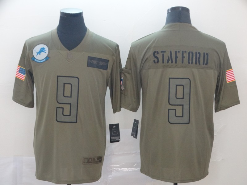 Nike Lions 9 Matthew Stafford 2019 Olive Salute To Service Limited Jersey