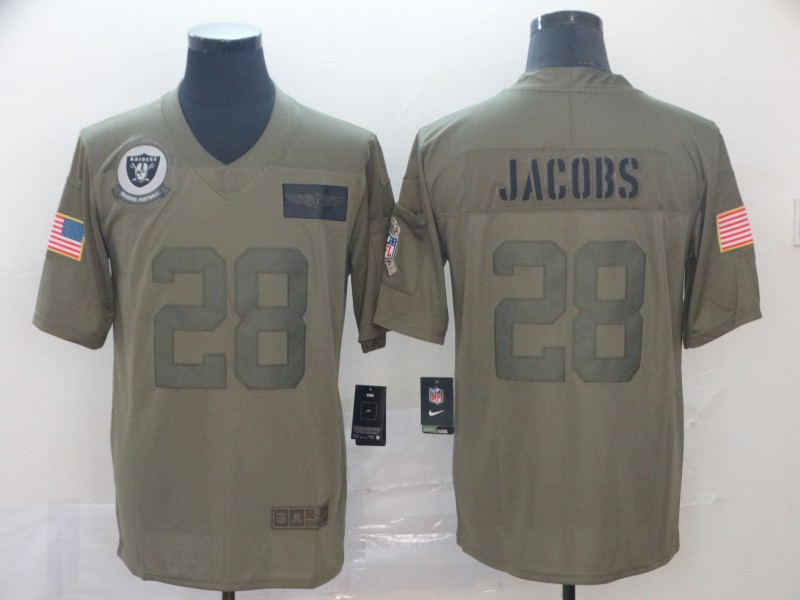 Nike Raiders 28 Josh Jacobs 2019 Olive Salute To Service Limited Jersey