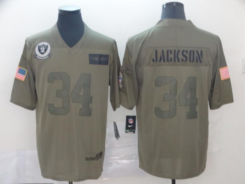 Nike Raiders 34 Bo Jackson 2019 Olive Salute To Service Limited Jersey