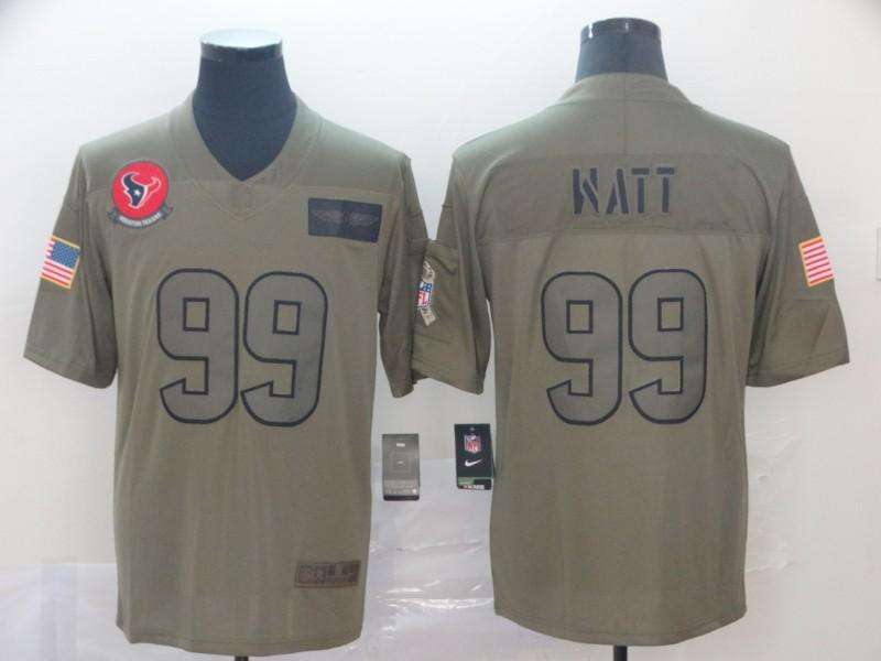 Nike Texans 99 J.J. Watt 2019 Olive Salute To Service Limited Jersey