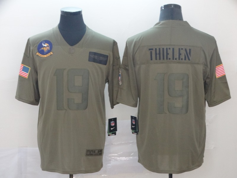 Nike Vikings 19 Adam Thielen 2019 Olive Salute To Service Limited Jersey