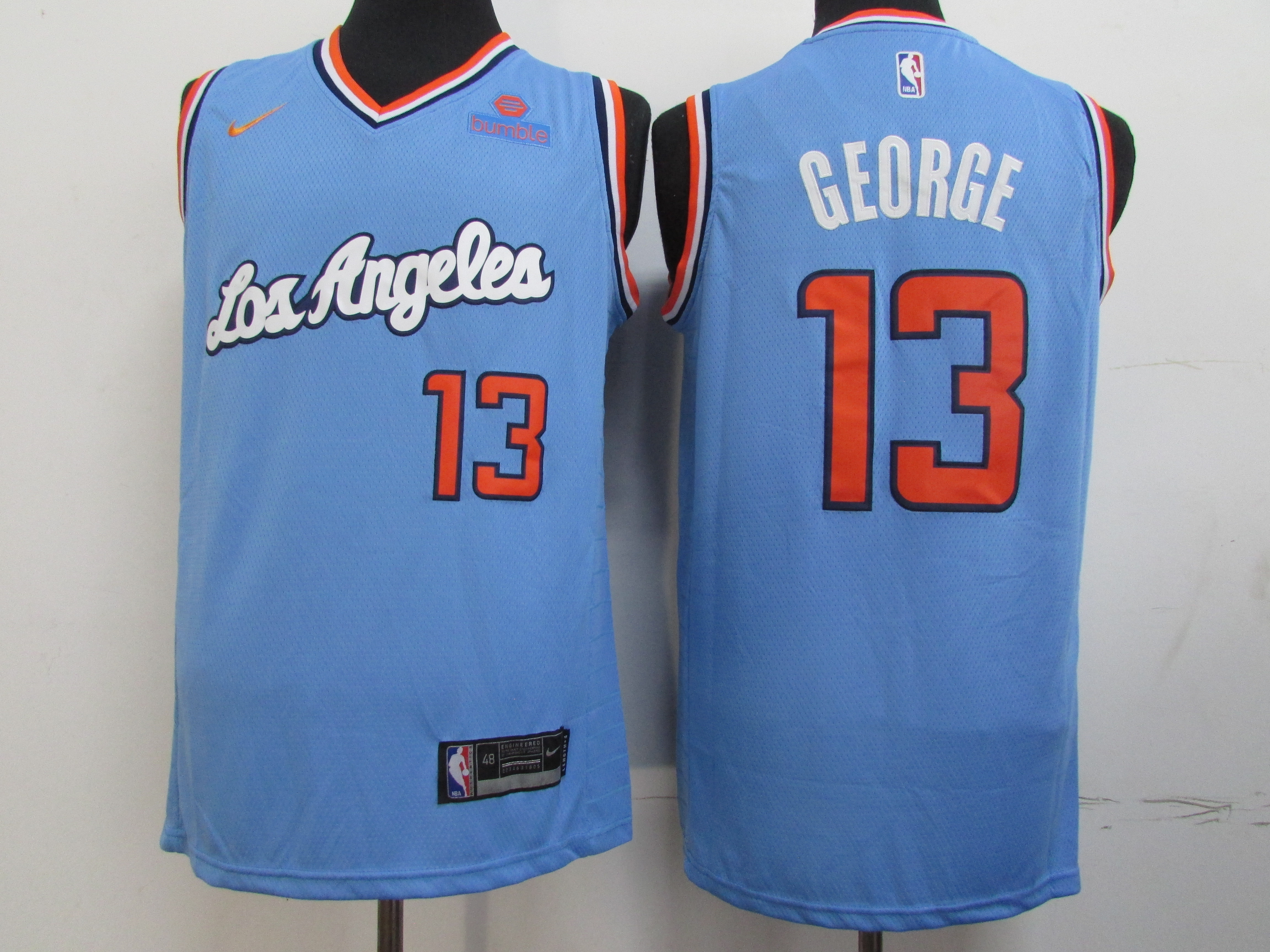 Clippers 13 Paul George Light Blue Nike Swingman Jersey