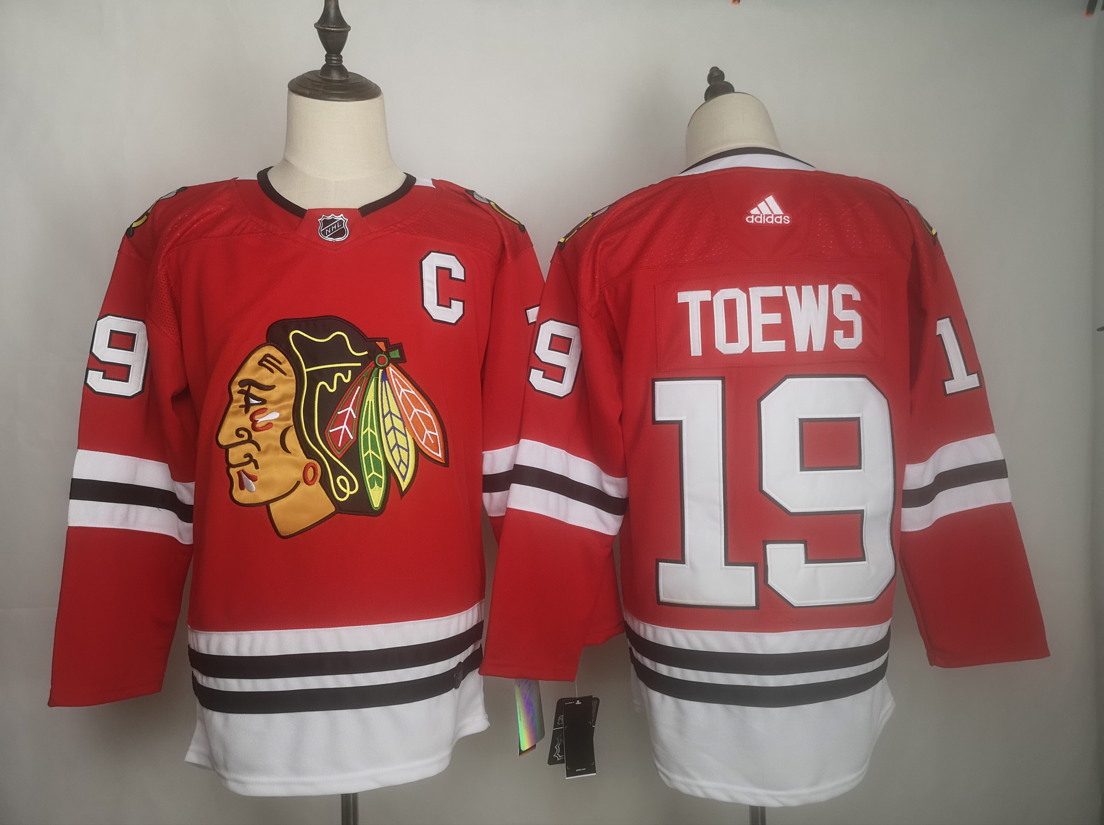 Blackhawks 19 Jonthan Toews Red Adidas Jersey