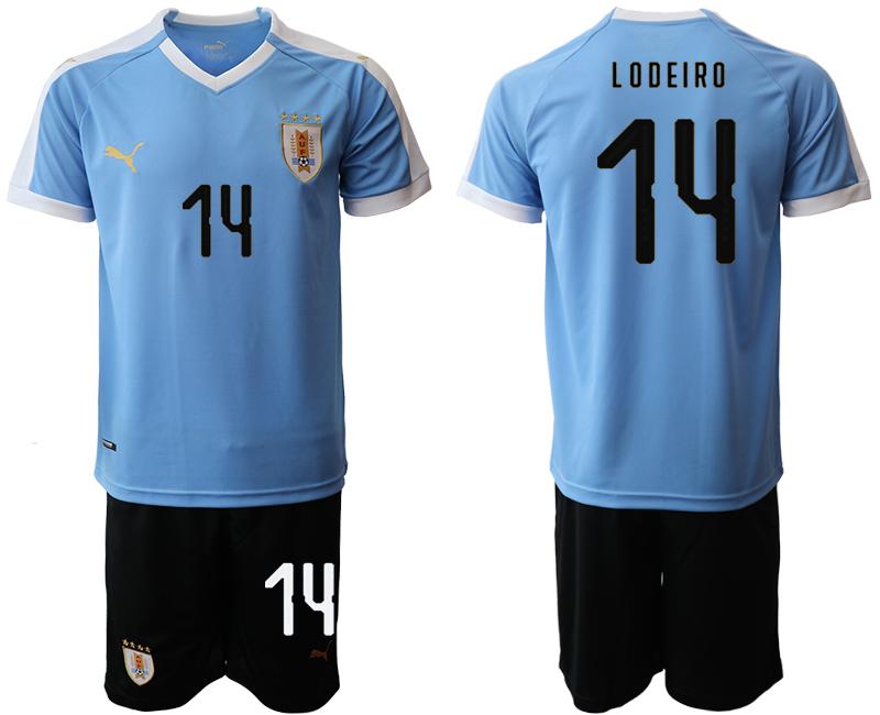 2019-20 Uruguay 14 L O D EIRI Home Soccer Jersey