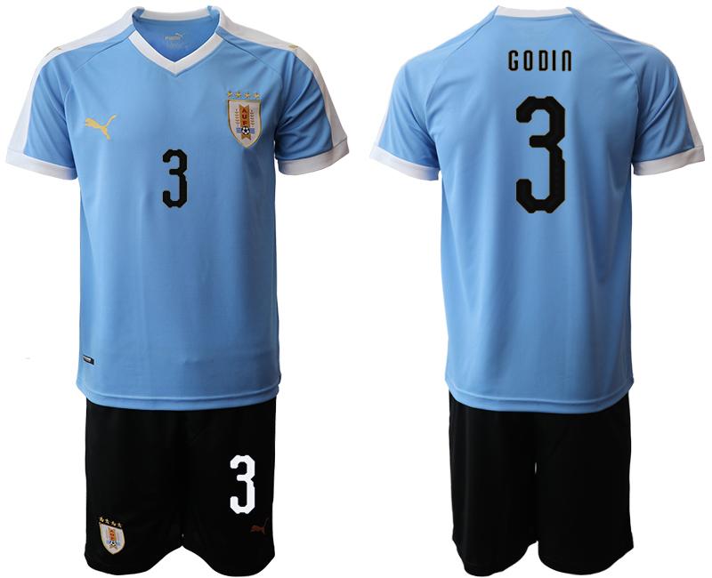 2019-20 Uruguay 3 GODIN Home Soccer Jersey