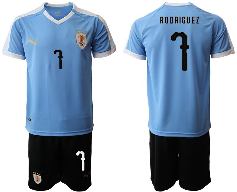 2019-20 Uruguay 7 R O D RIGU EZ Home Soccer Jersey